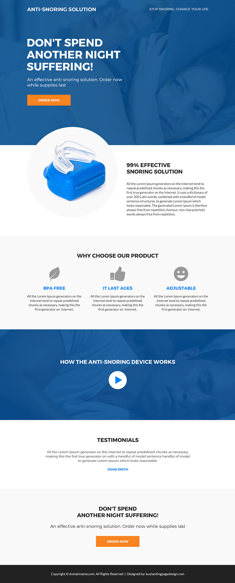 anti snoring device selling bootstrap landing page