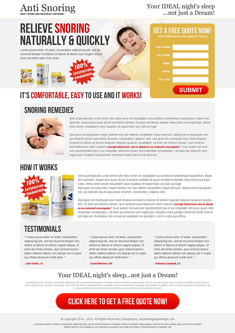 relieve snoring naturally and quickly anti snoring product clean and highly effective lead capturing landing page