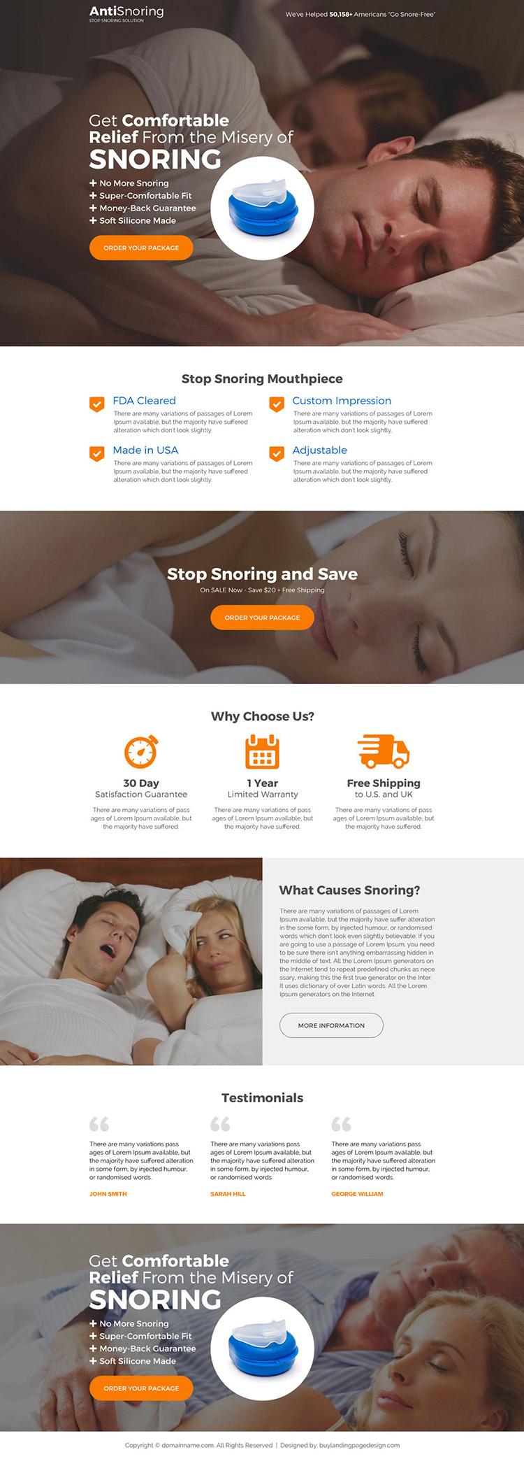 responsive anti snoring product selling long landing page