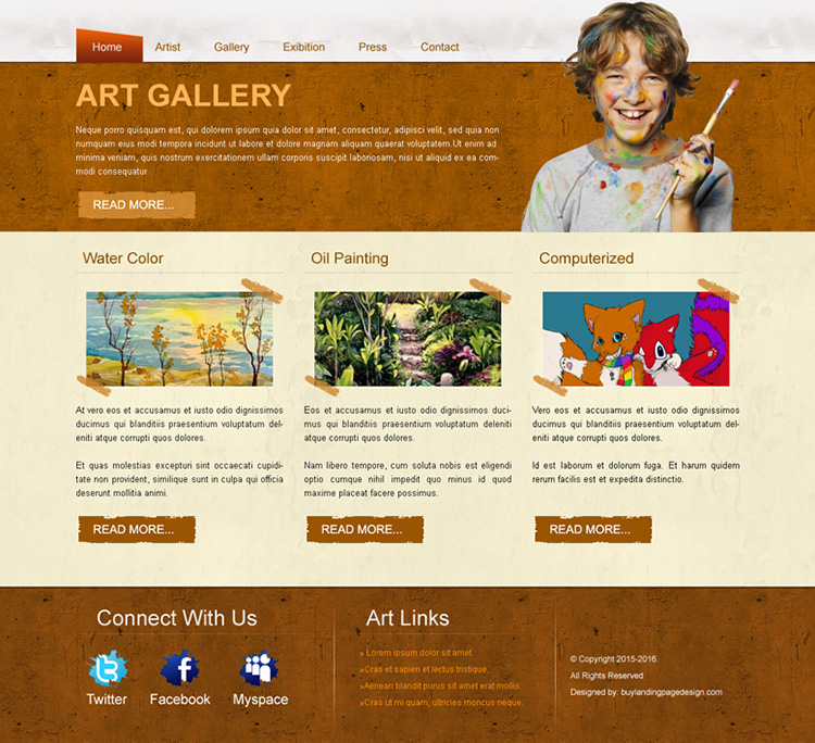 best art gallery website template design psd for sale