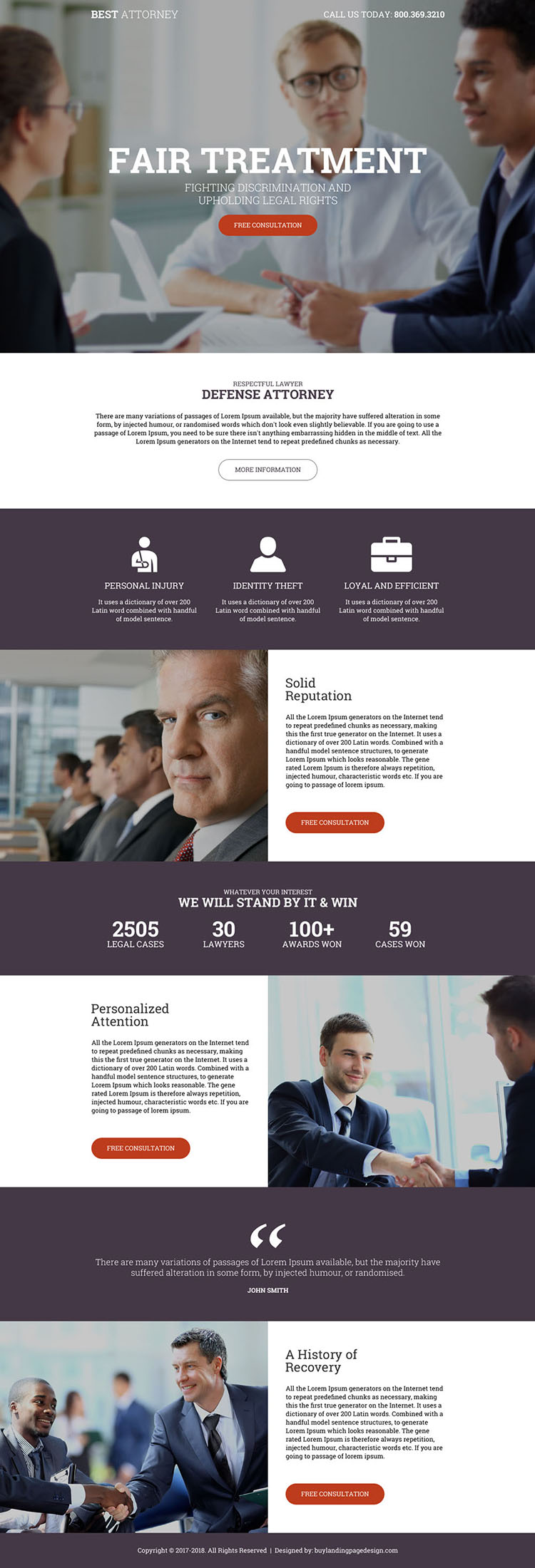 defense attorney free consultation providing landing page design