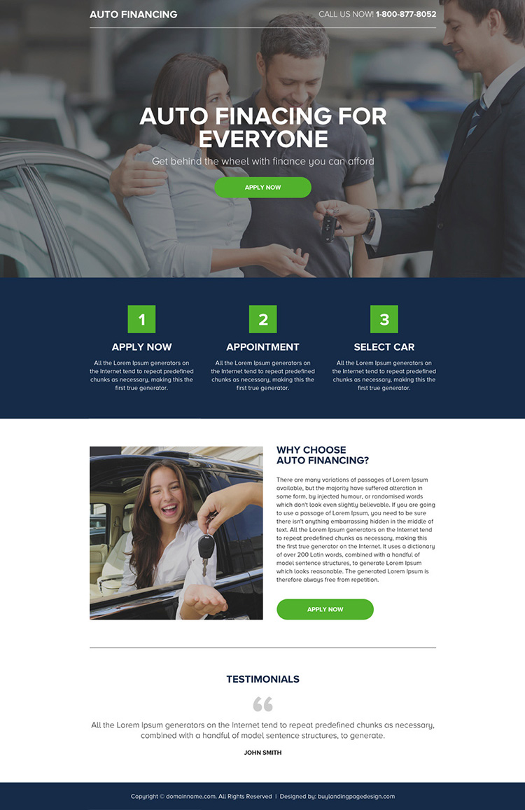 auto finance online application lead generating minimal landing page