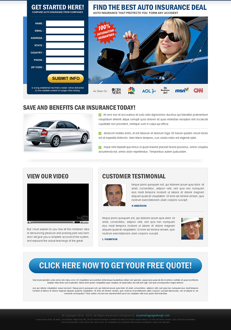 best auto insurance deals effective lead capture landing page design