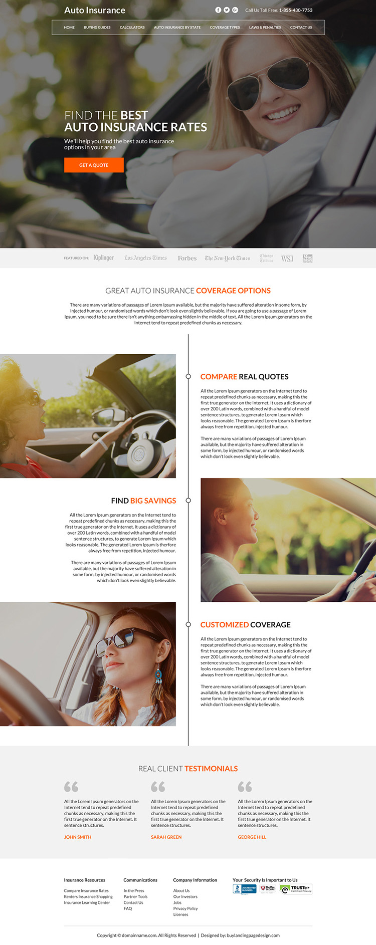 best auto insurance coverage instant quote capturing responsive website design