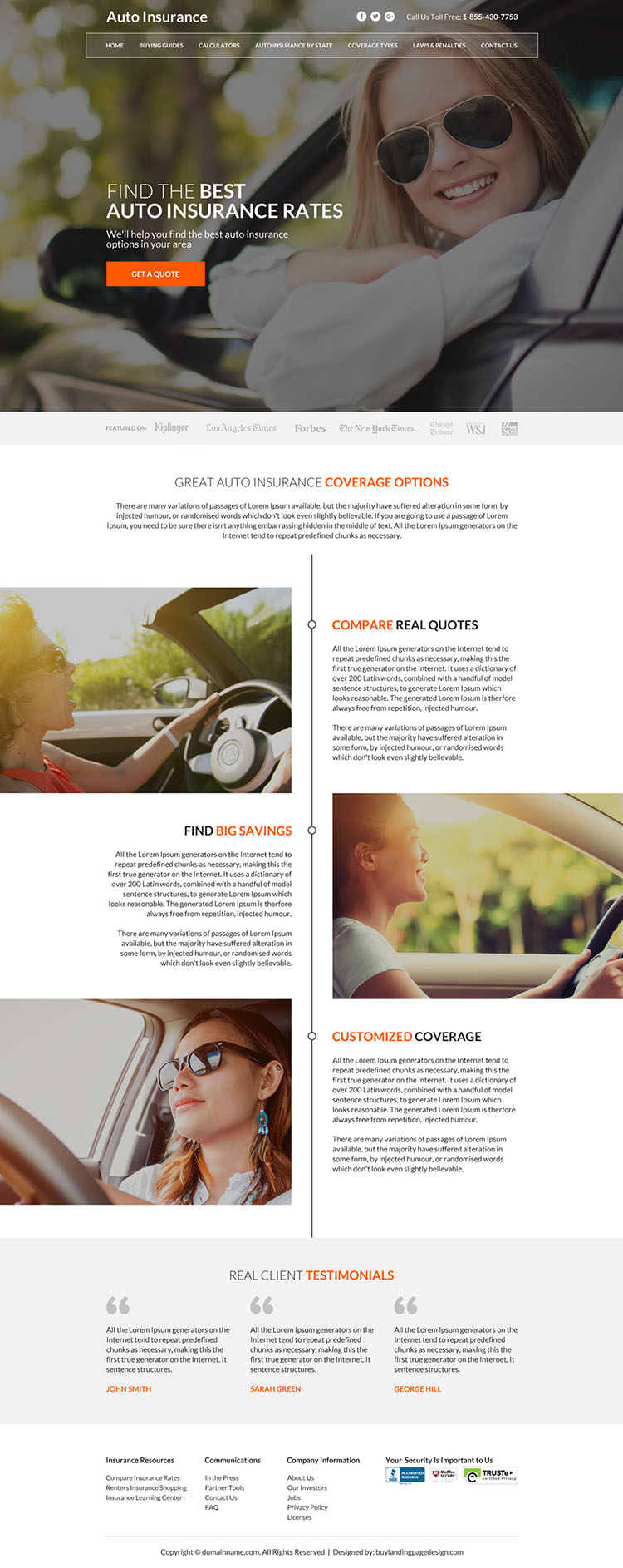 clean auto insurance rates minimal website design