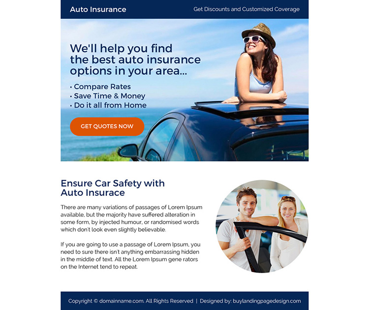 best auto insurance call to action ppv landing page