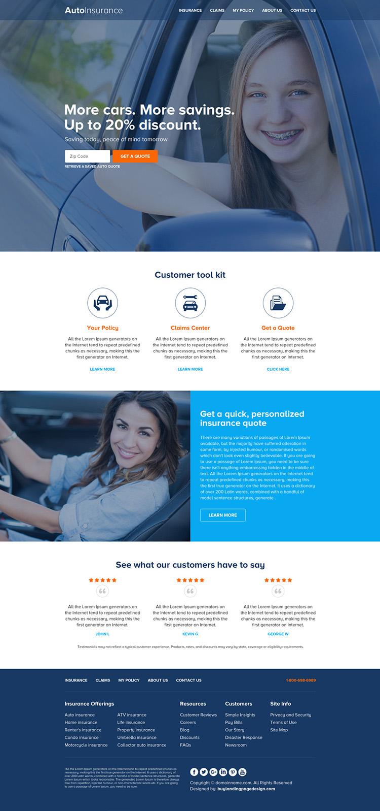 best auto insurance html website design template