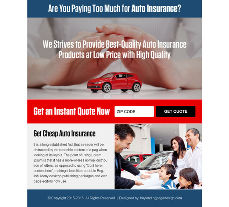 best auto insurance quote ppv landing page design template
