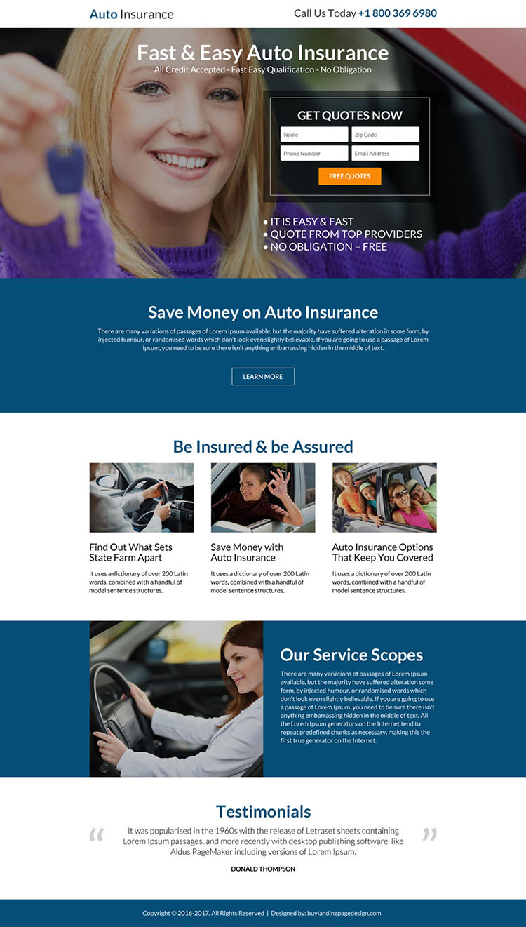 responsive auto insurance lead capturing landing page design