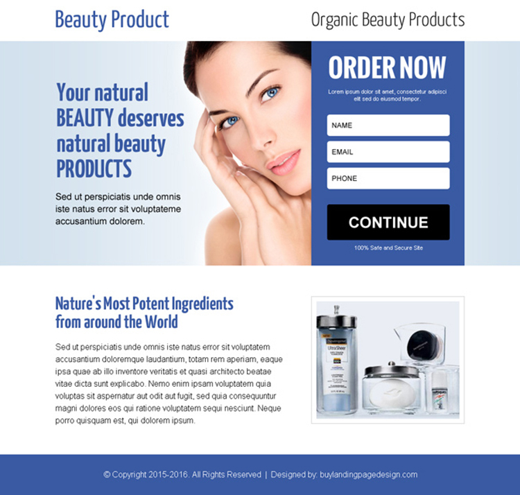 best beauty product lead gen ppv landing page design