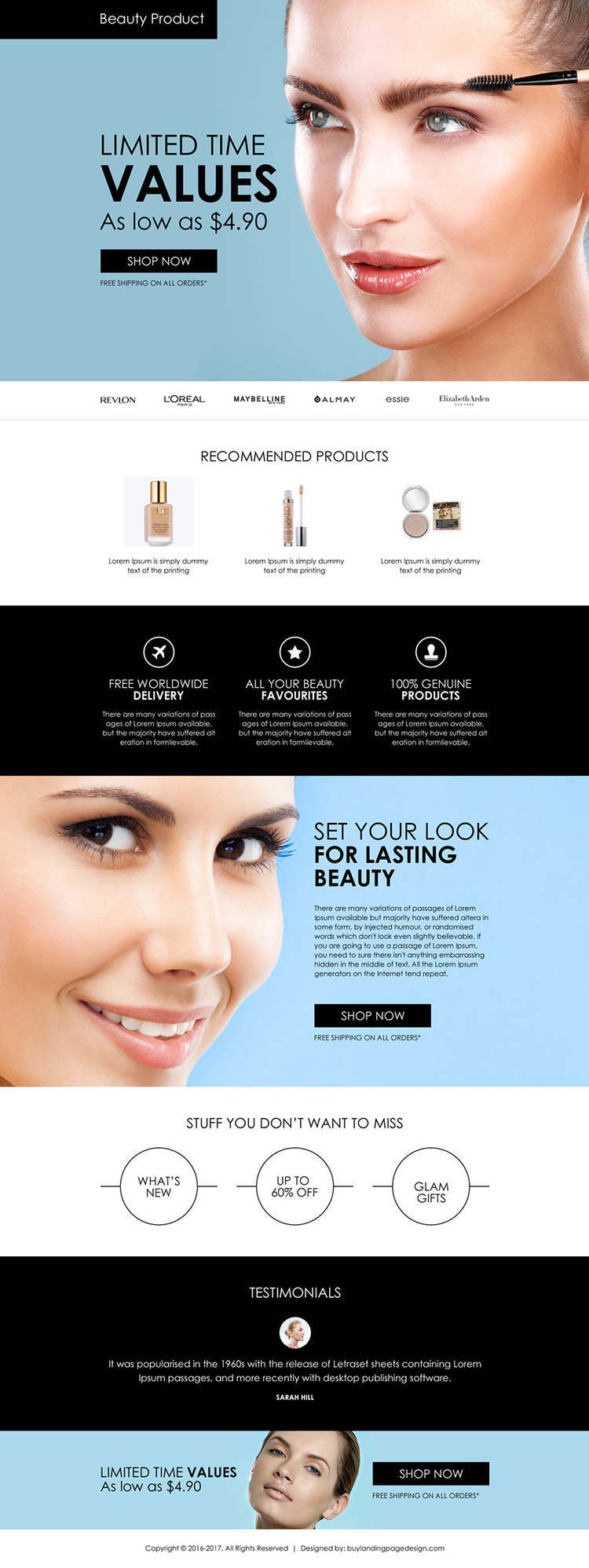 beauty products selling appealing landing page design