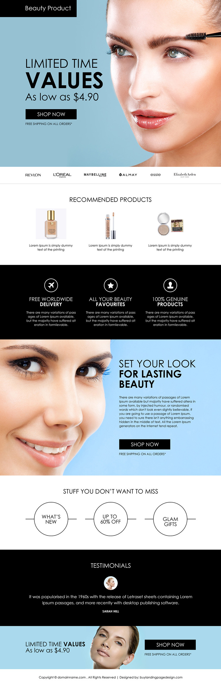 best beauty products selling responsive landing page design