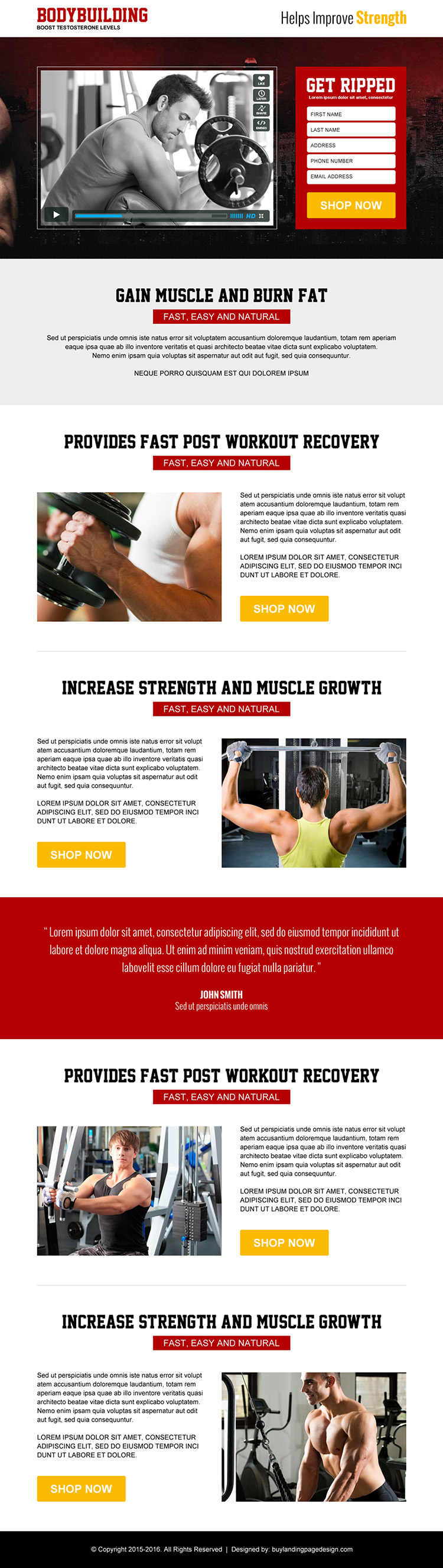 best bodybuilding service responsive video landing page design