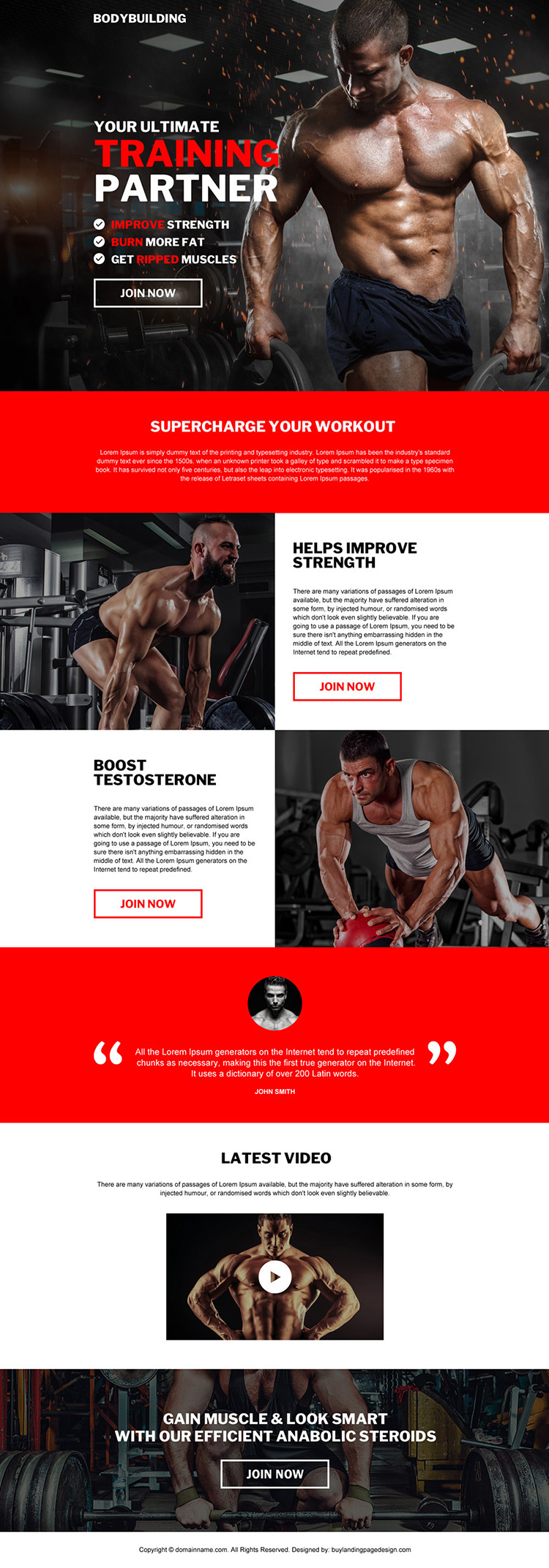best bodybuilding training bootstrap landing page design