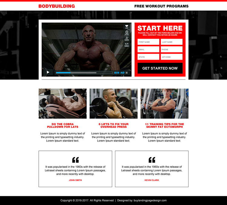 best body building workout video landing page design