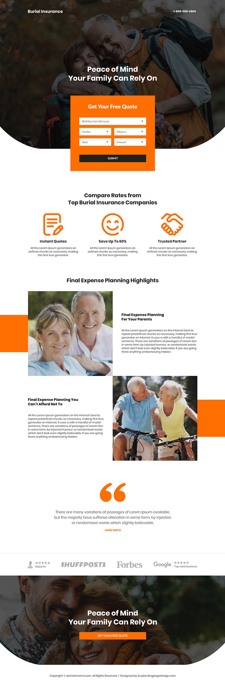 top burial insurance companies professional lead generating landing page
