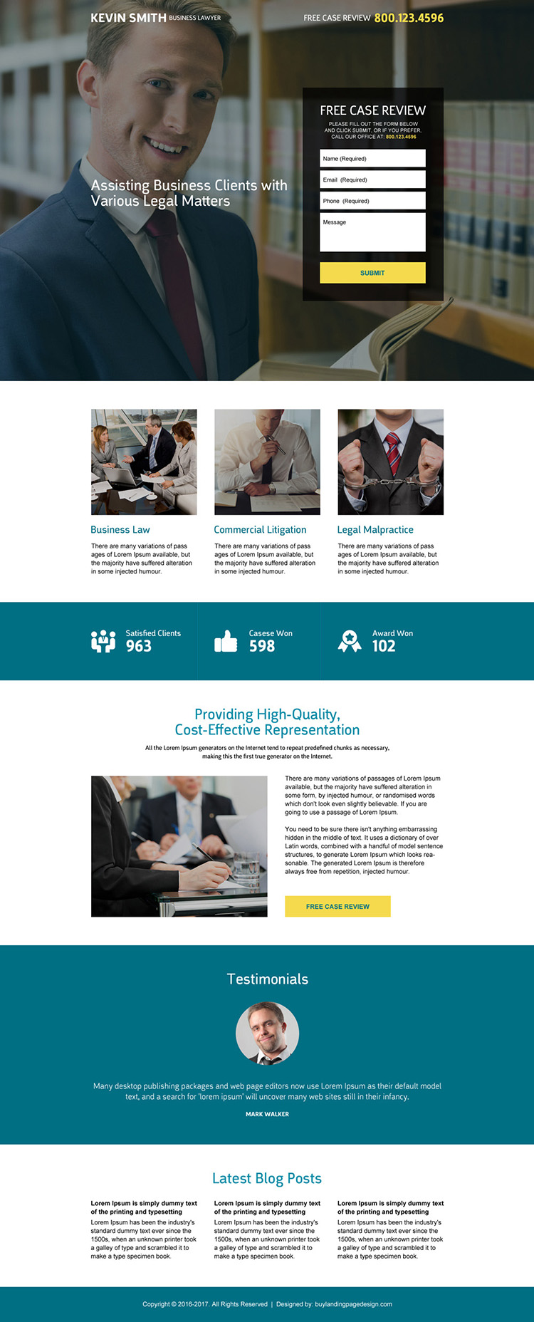 business lawyer responsive landing page design