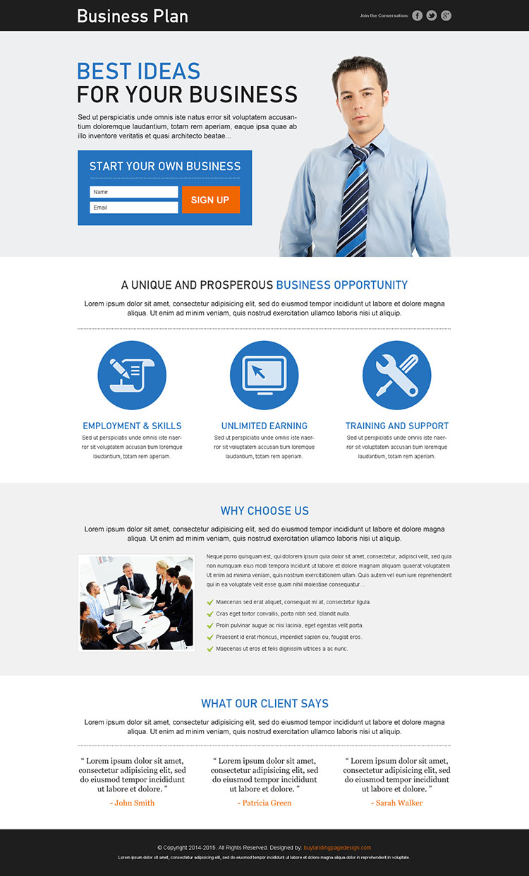 best business plan responsive landing page design