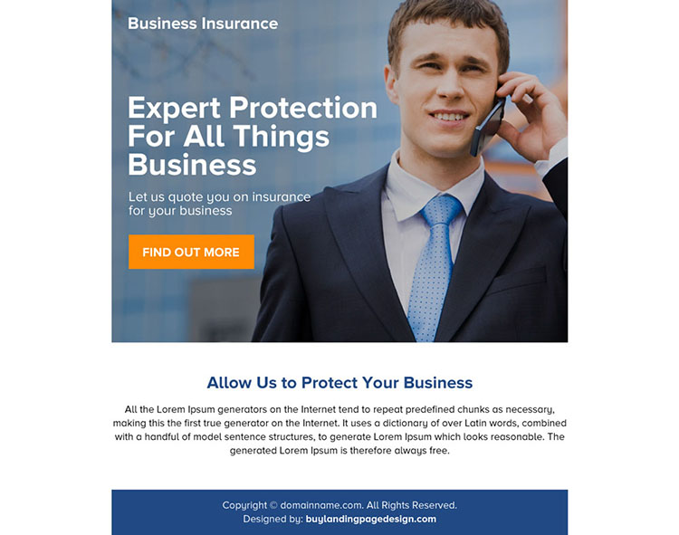 best business protection ppv landing page design