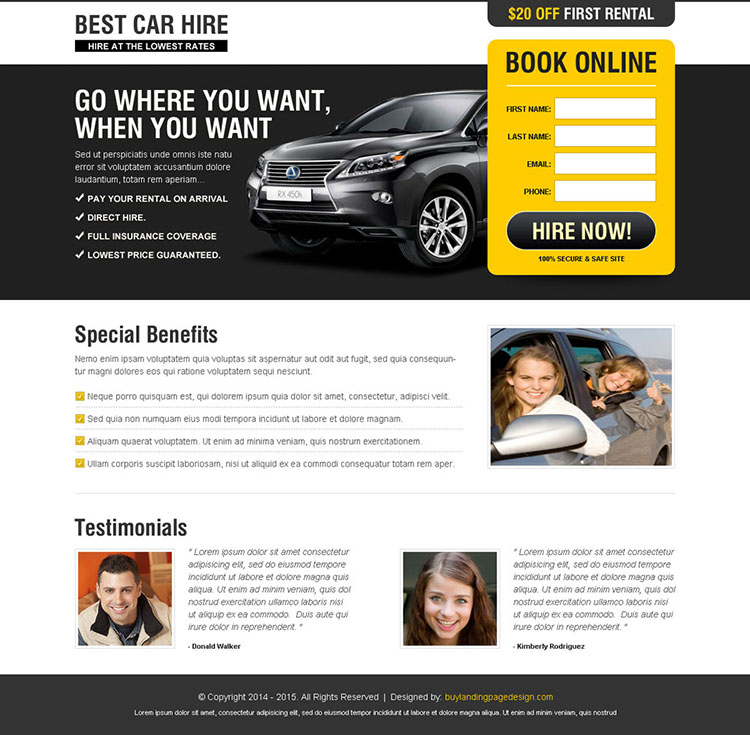 best car hire landing page design