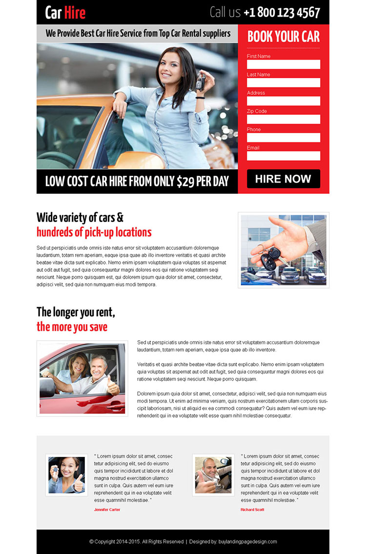attractive low cost responsive lead capture landing page design for car hire