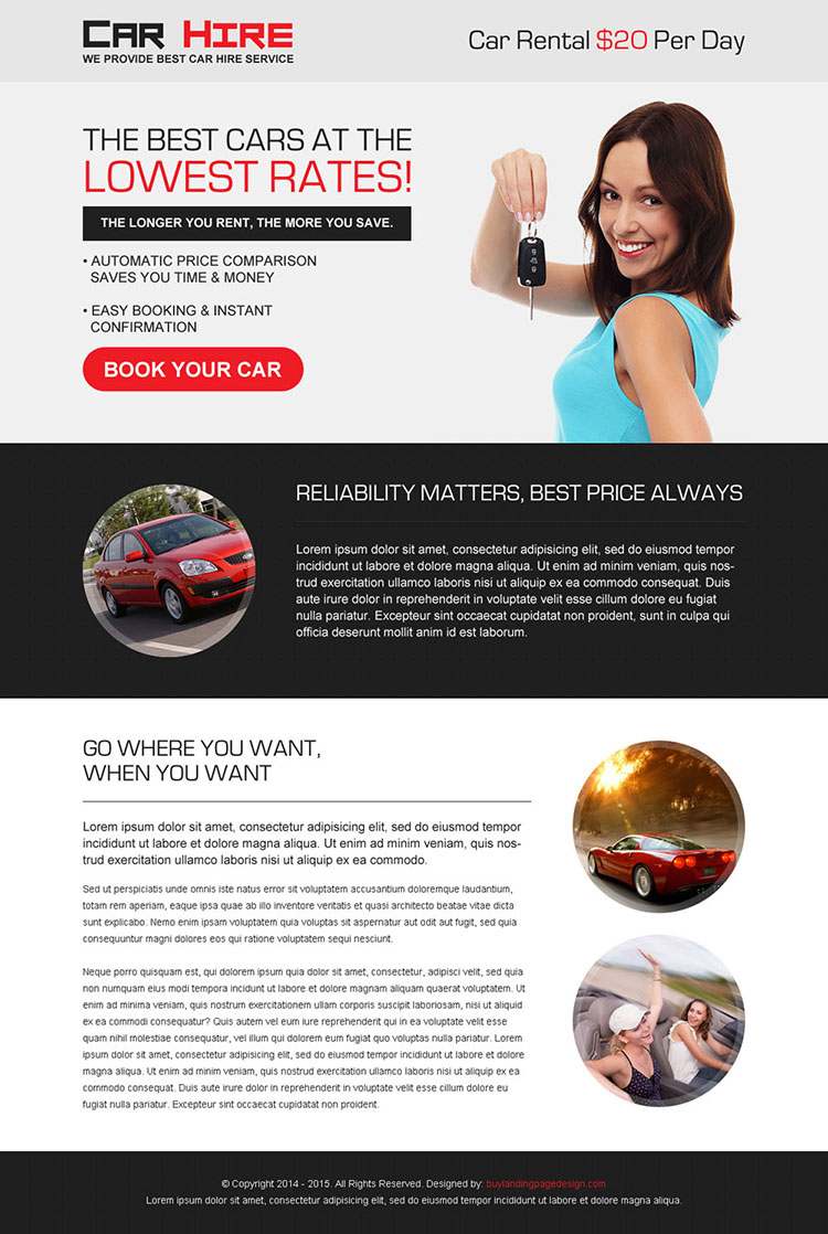 best cars at the lowest rates most converting car hire lead capture landing page design