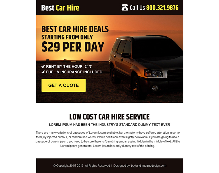 best car hire service free quote ppv landing page design