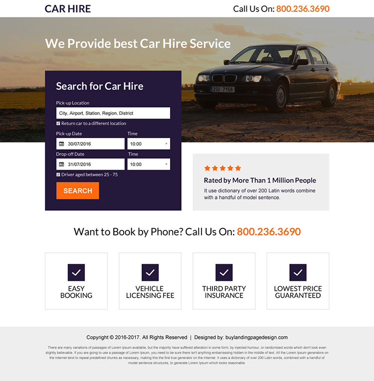 car hire service lead generating mini landing page design