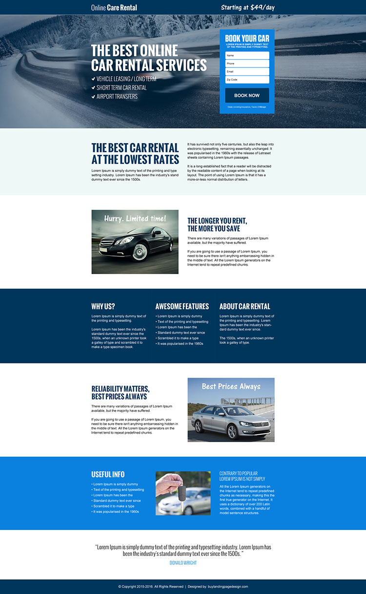 responsive car rental landing page design