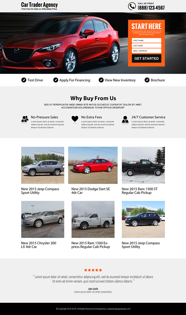 best car trading agency lead gen responsive landing page design