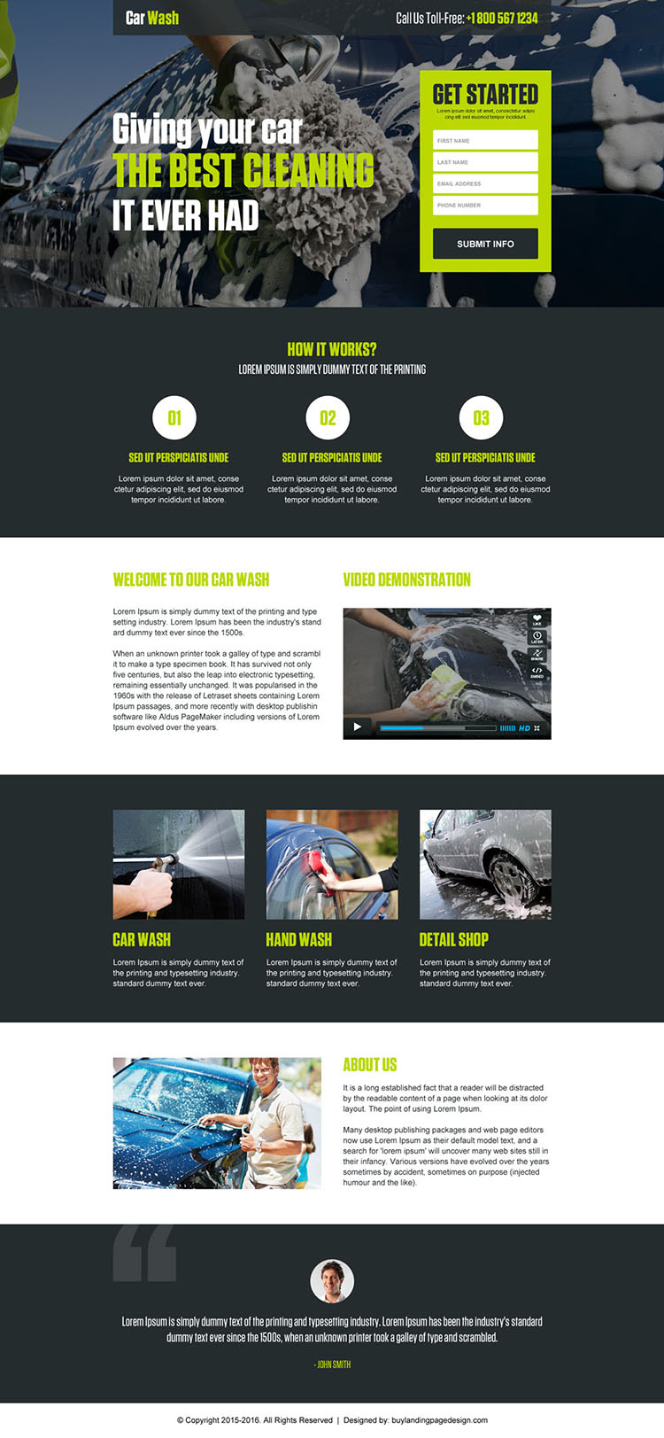 best car washing service lead maximizing responsive landing page design