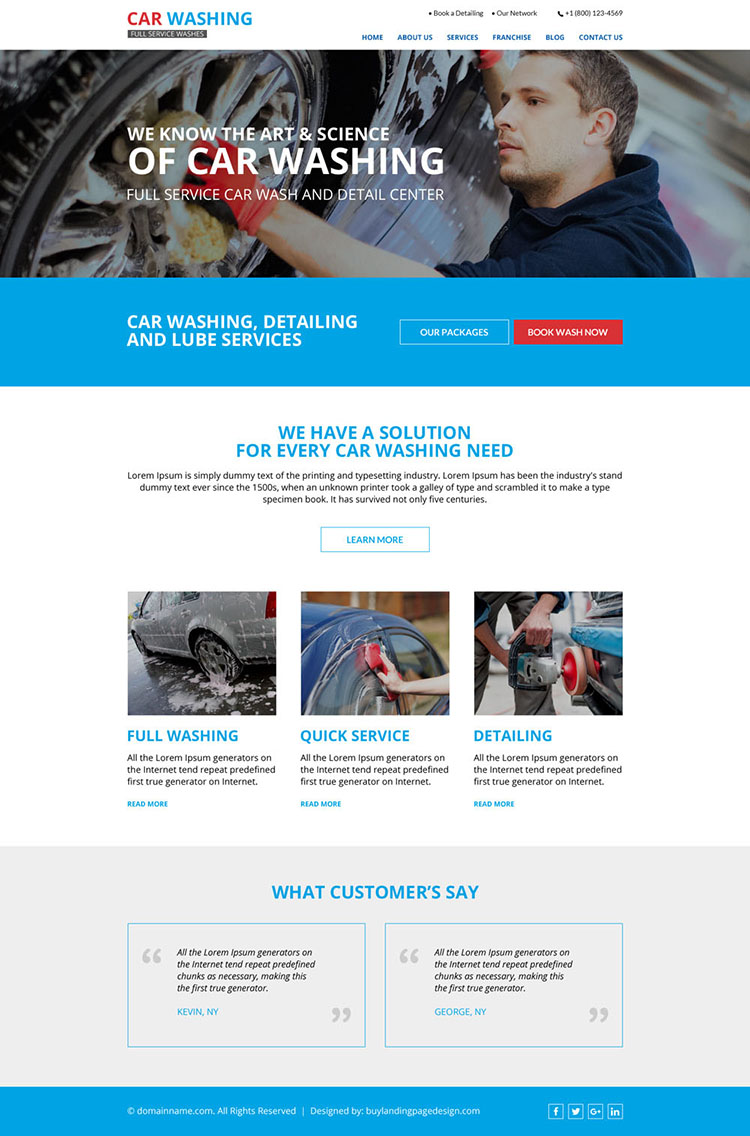 clean and effective car washing service website design