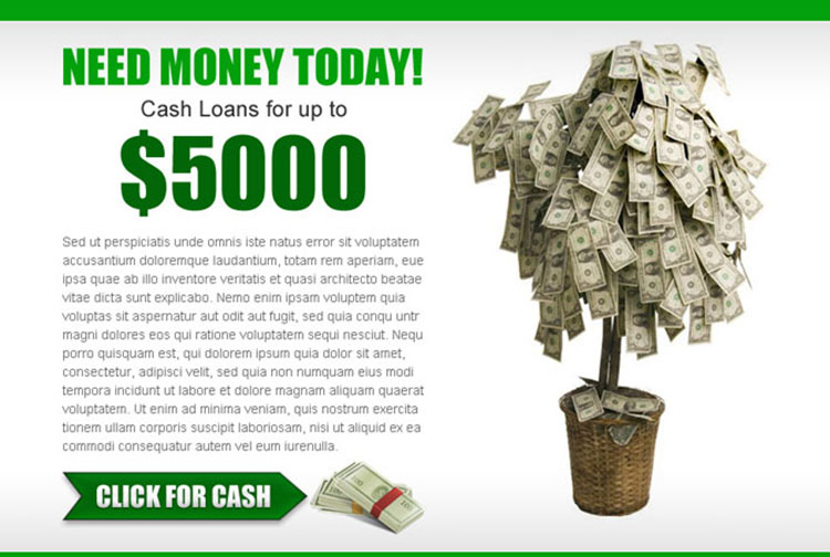 attractive cash loan service call to action ppv landing page design template