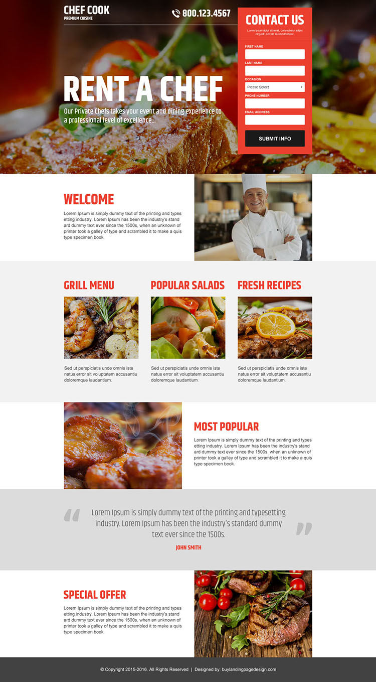 best chef cook lead capture landing page design