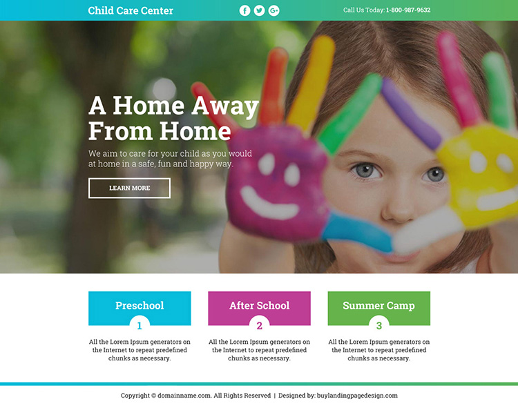 best child care center leads funnel landing page design