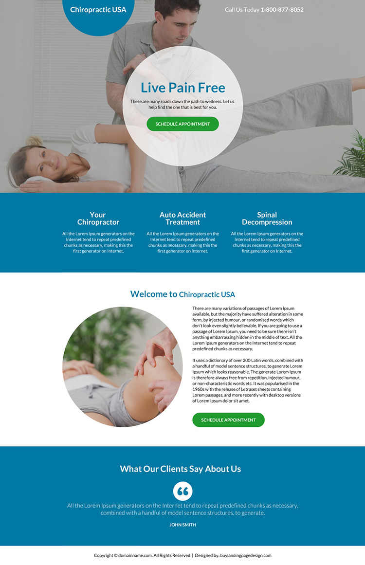 best chiropractic care service landing page design