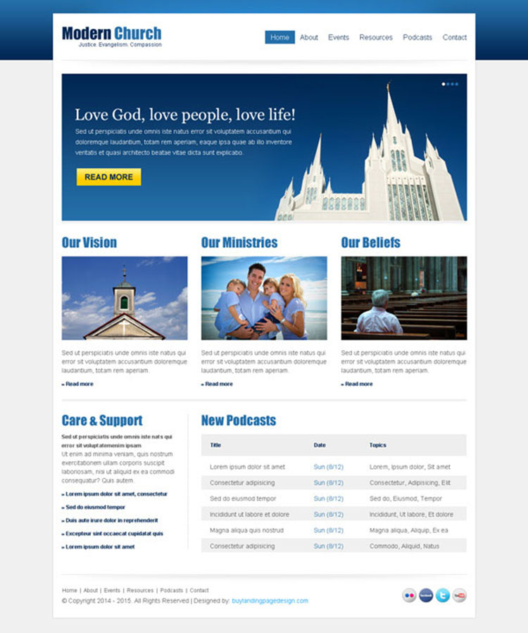 clean and effective church website template design psd at affordable price