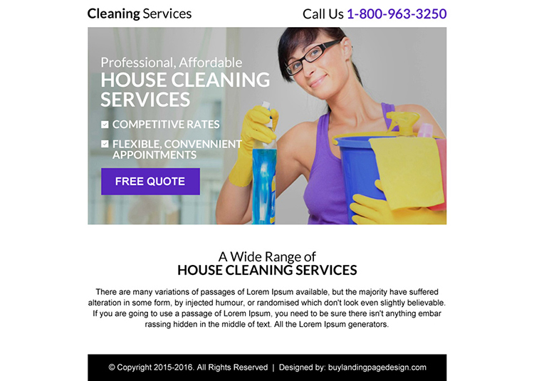 best cleaning service free quote ppv landing page