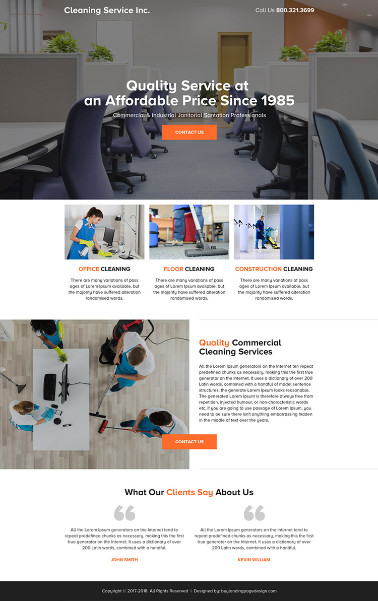 quality commercial cleaning services mini landing page design