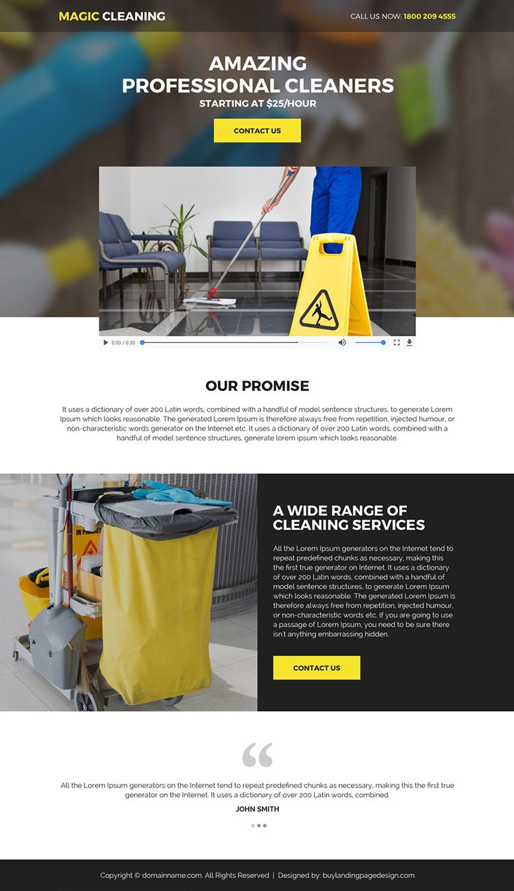 best cleaning services mini responsive video landing page