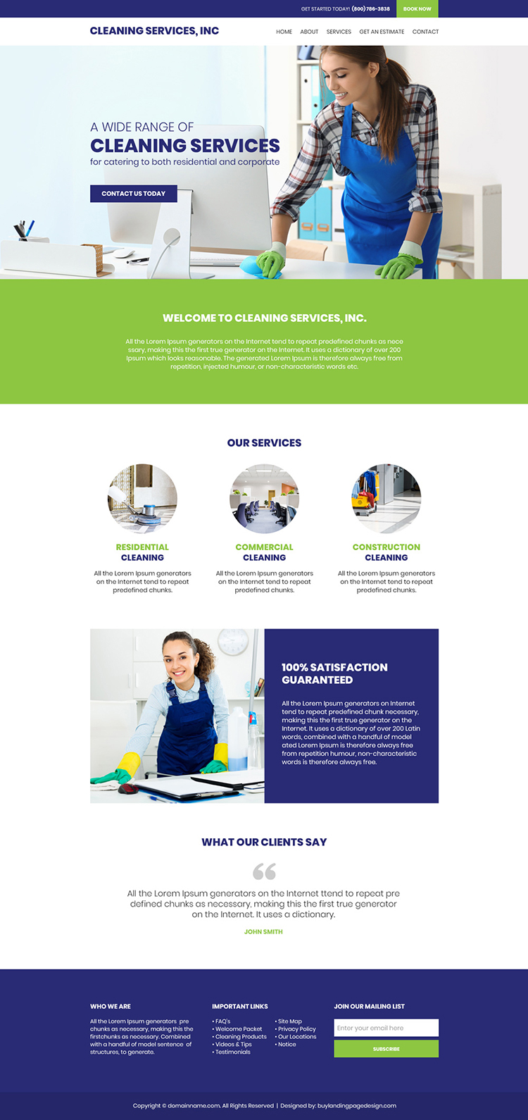 cleaning service company responsive website design