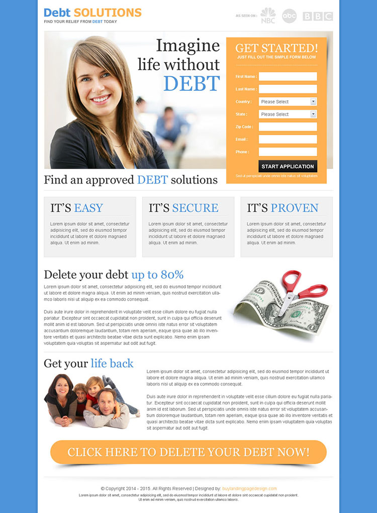 best converting debt lead capture responsive landing page design template