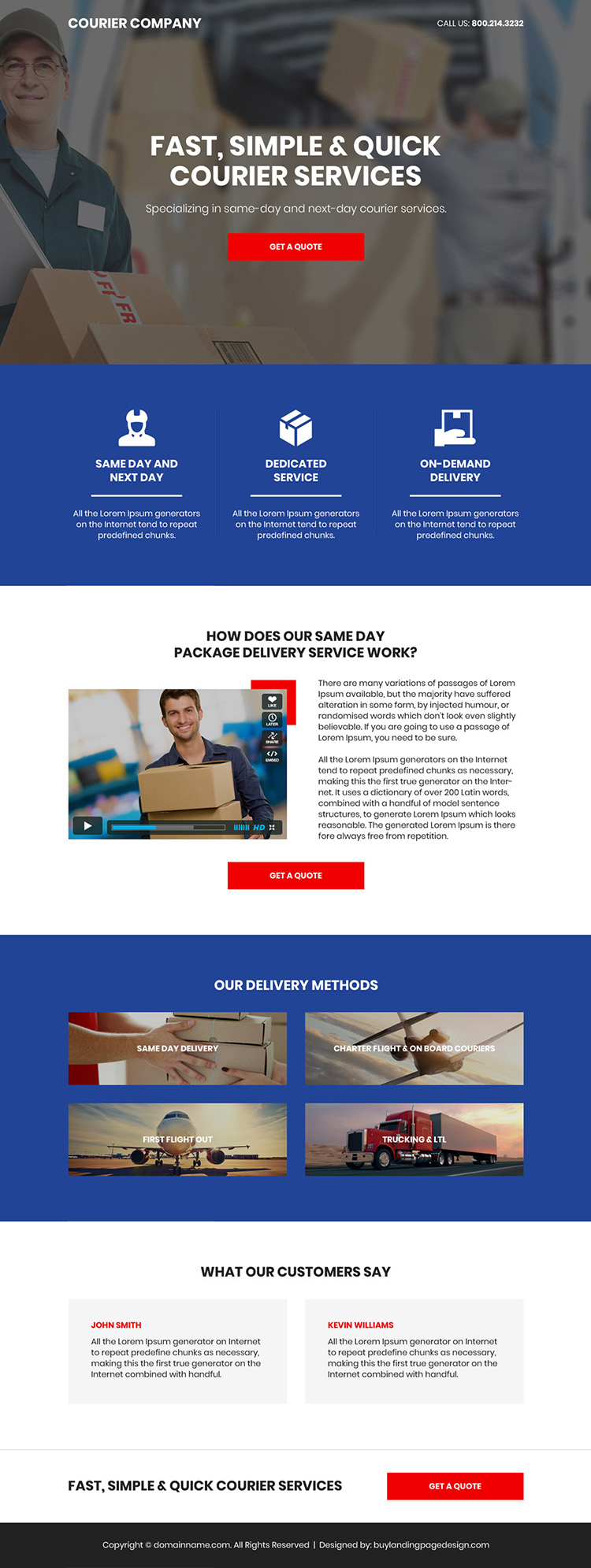 courier service company bootstrap landing page