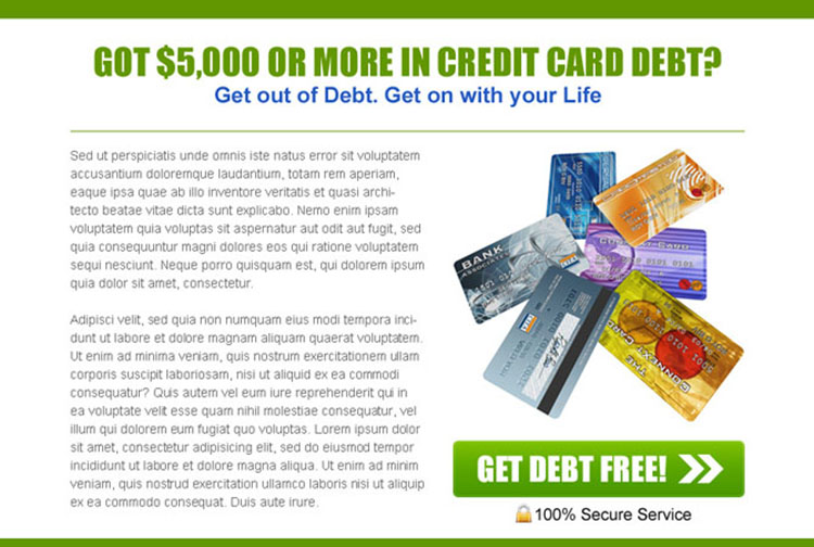 get out of credit card debt easily converting ppv landing page template