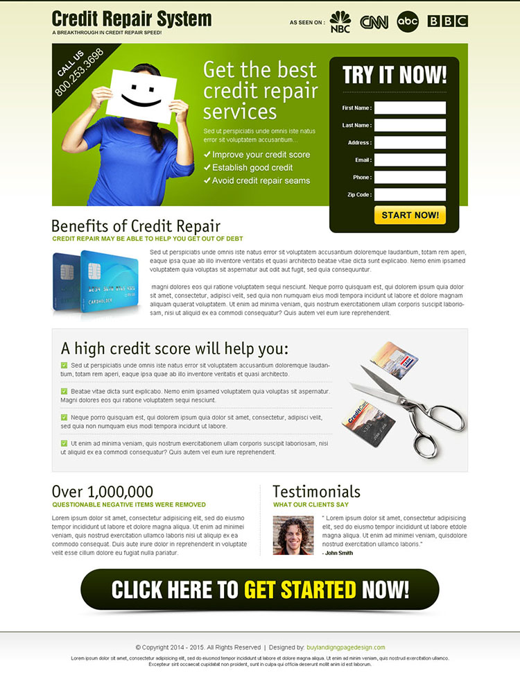 get the best credit repair service most converting landing page design