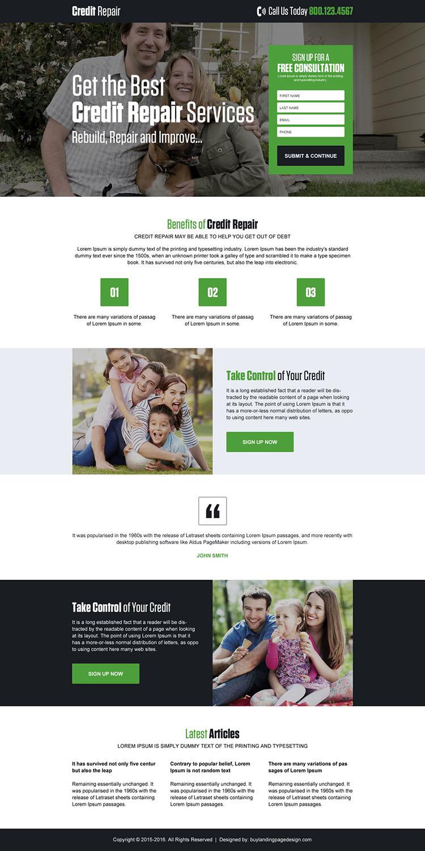 responsive credit repair service landing page design
