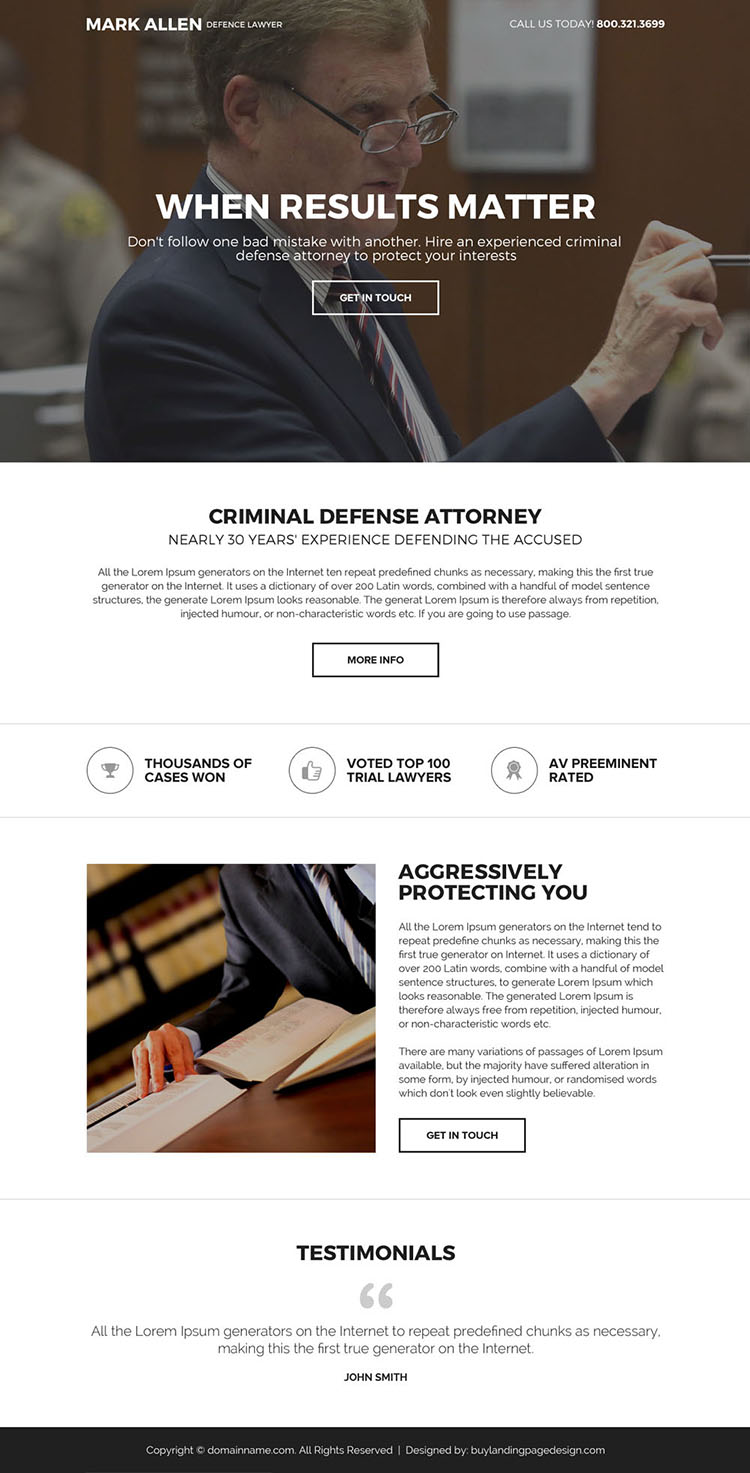 best criminal defense attorney mini landing page design