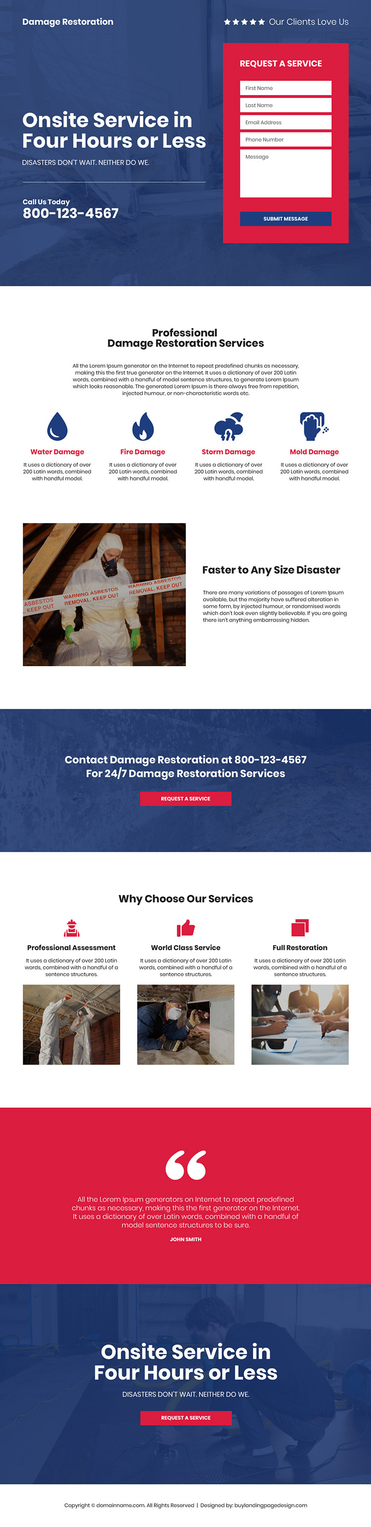 damage restoration company bootstrap landing page