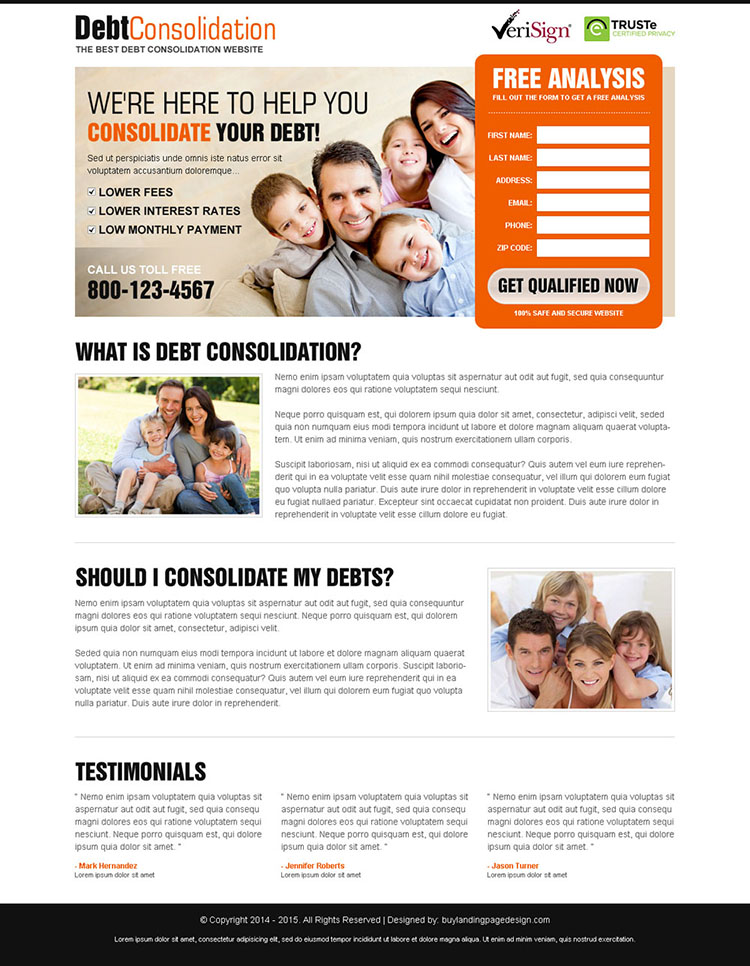consolidate your debt clean and converting landing page design