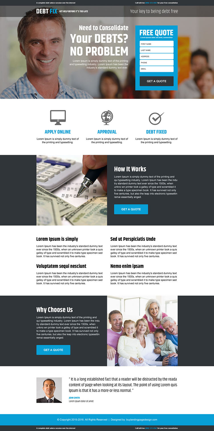 best debt fix advice service responsive free quote lead capture landing page